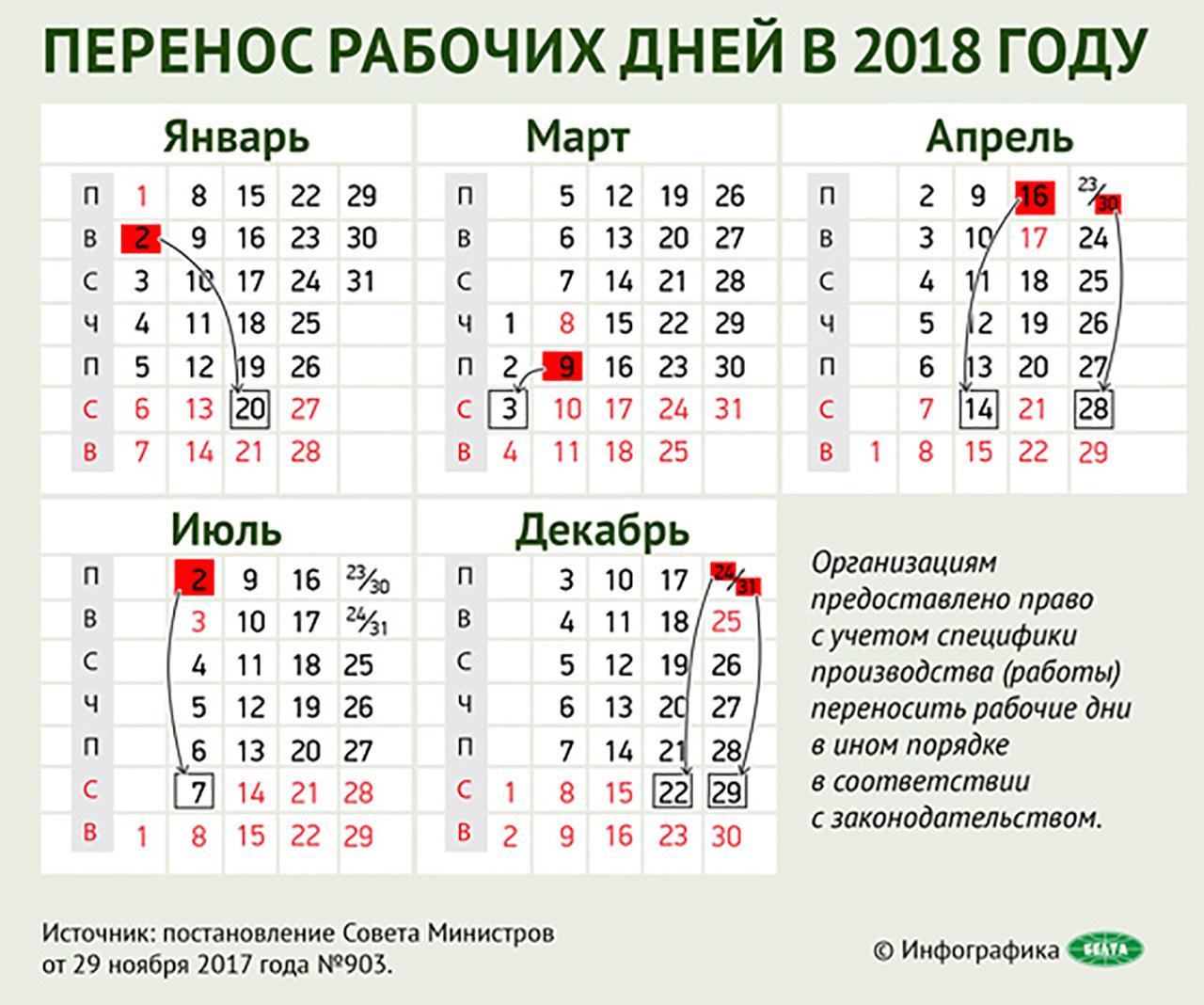 Перенос праздничных дней в 2018 году