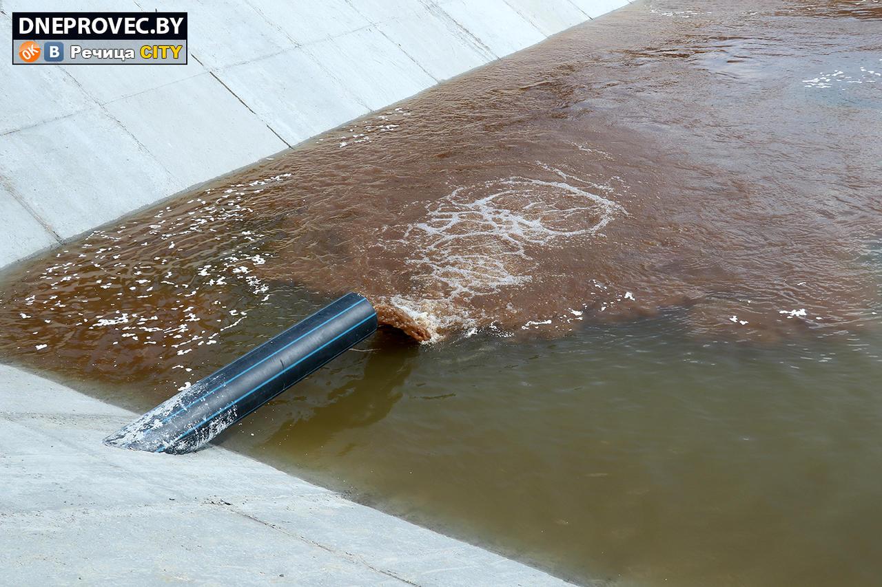 Сброс воды в шламонакопитель после промывки фильтр-модулей